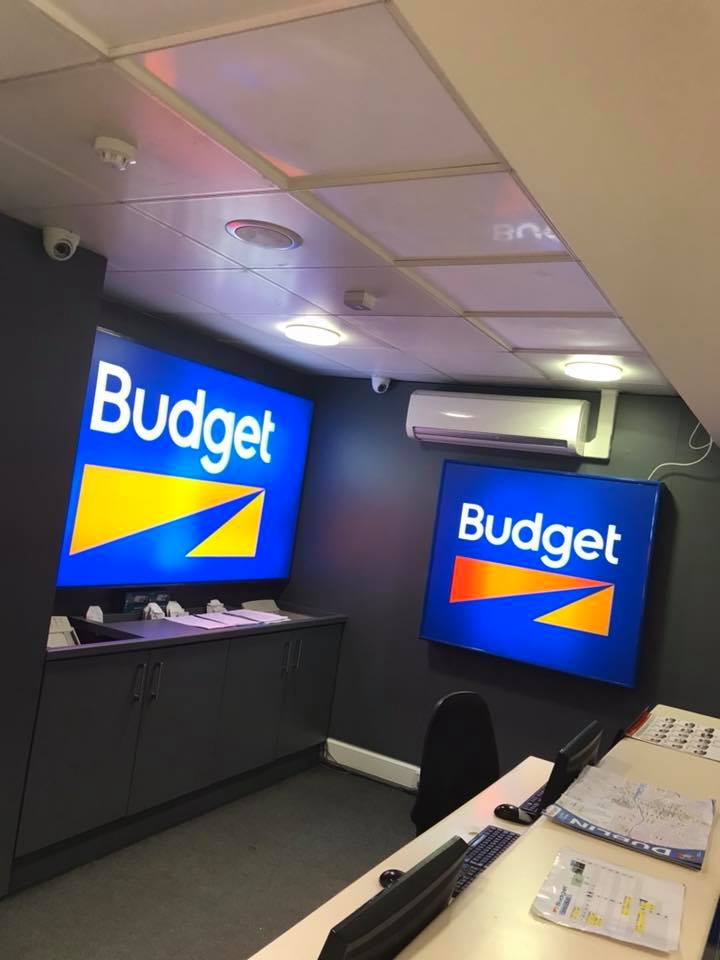 Suspended Pureheat ceiling panels in Budget Car Rental