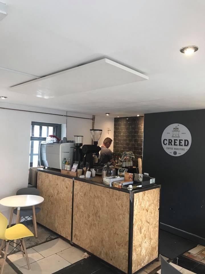 Pureheat Ceiling Panels in Creed Coffee, Celbridge, Co Kildare.