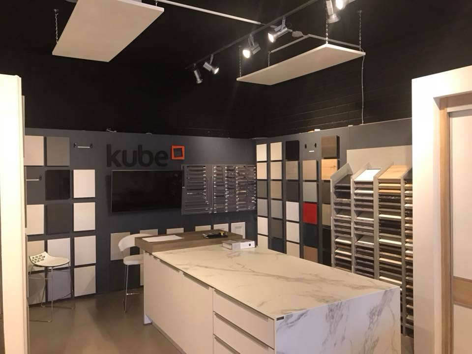 Suspended Pureheat ceiling panels in Kube Kitchens showroom.